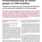 Kurrat, Wiedenhoff, Dressel 2010 - Portfoliooptimierung für Beteiligungen an CDM-Projekten - emw